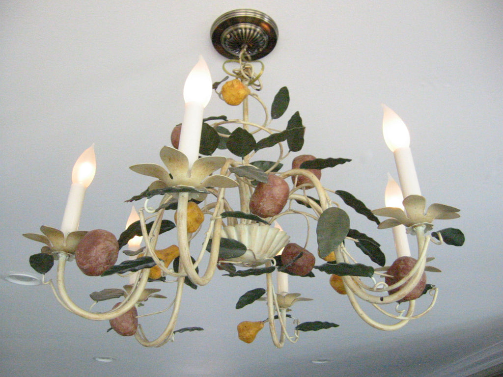 Six Light Modernist Fruit Composition Metal Chandelier - Designer Unique Finds