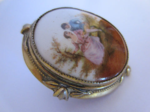 Victorian Porcelain Brooch Hand Painted Romance Scene Marked - Designer Unique Finds   - 1