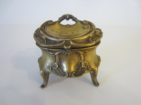 Art Deco Bronze Jewelry Box Decorated Flowers Scrolled Raised Footed