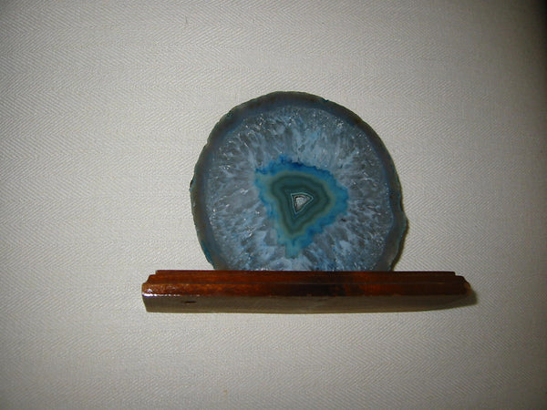 Sliced Blue Brazilian Agate On Wood Stand - Designer Unique Finds