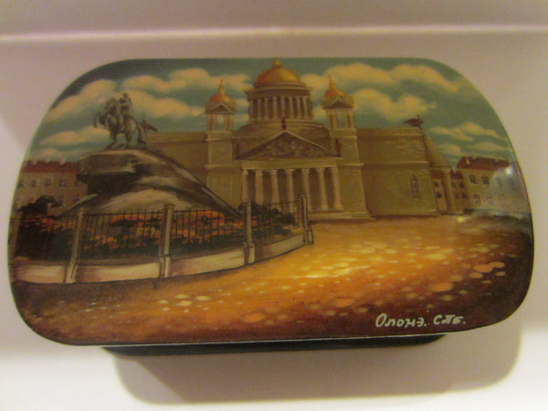 Russian Snuff Box Signed Black Lacquered Hand Painted Castle Scene - Designer Unique Finds   - 5