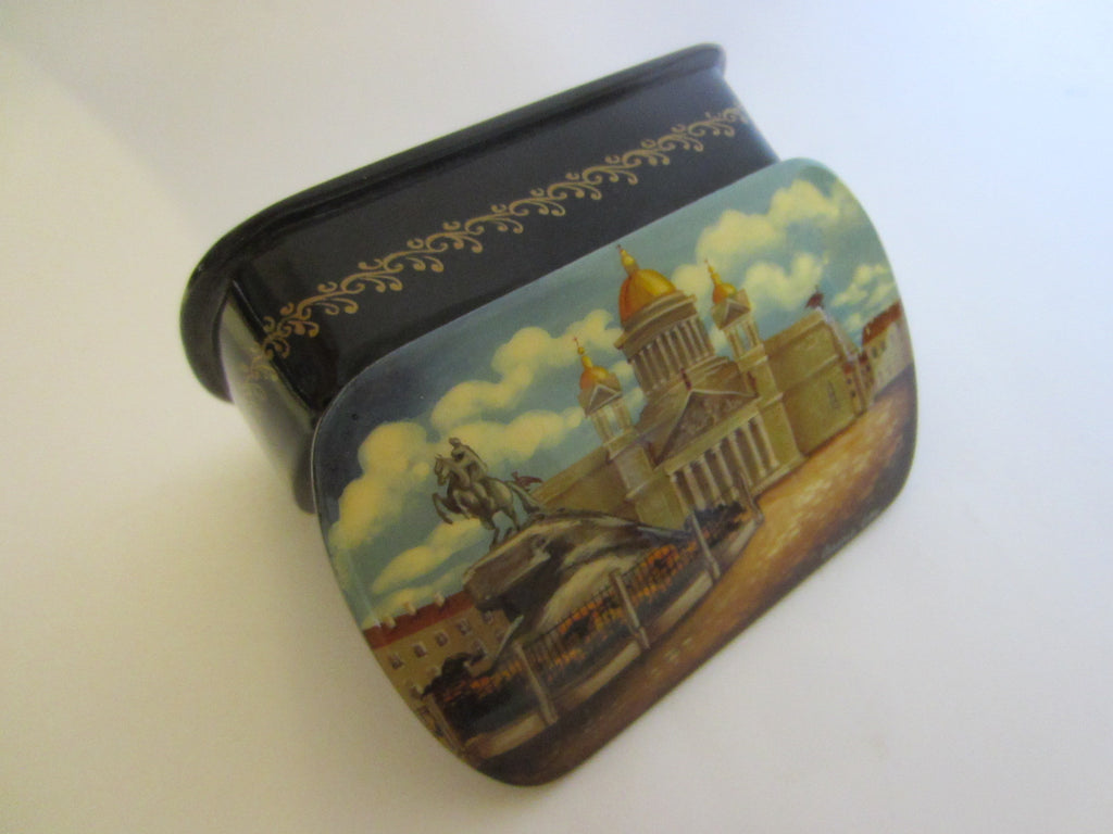 Russian Snuff Box Signed Black Lacquered Hand Painted Castle Scene - Designer Unique Finds   - 1