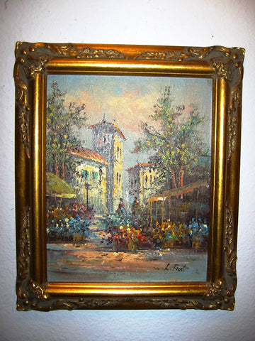 Botanical Oil On Panel Signed L Frost Impressionist Cityscape - Designer Unique Finds