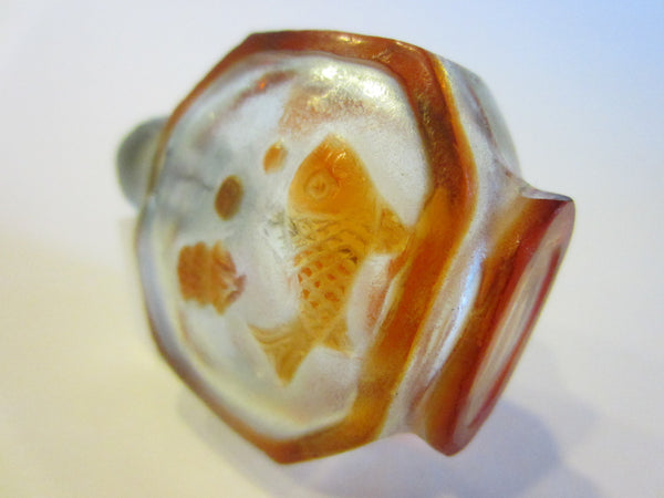 Chinese Miniature Peking Glass Fish Overlay Snuff Bottle - Designer Unique Finds