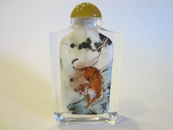 Interior Painted Glass Snuff Bottle Amber Stopper Moon Over Tiger - Designer Unique Finds