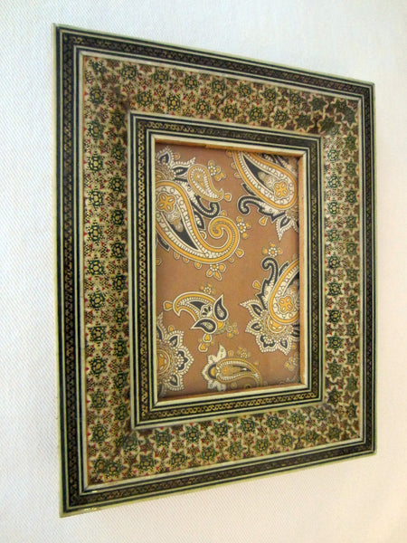 Persian Khatam Inlaid Wood Photo Frame Miniature Gilt Work Decorated - Designer Unique Finds