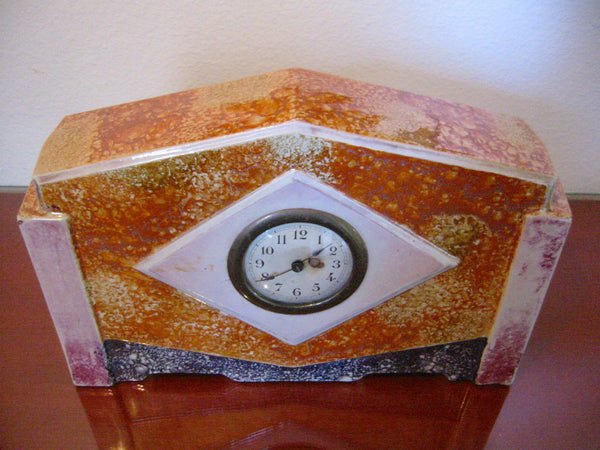 France Art Deco Ceramic Mantle Clock Rustic Orange Glaze - Designer Unique Finds   - 1