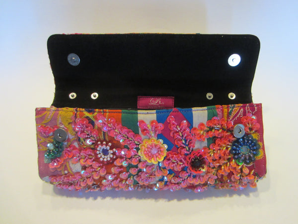 Beaded Clutch Laura Lees Designs Sequined Detached Leather Strap - Designer Unique Finds