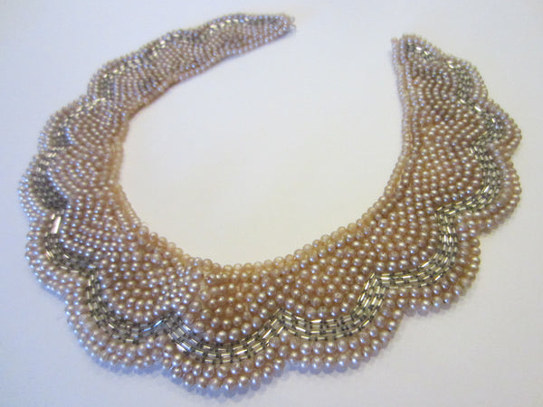 Delco Japan Bib Necklace Collar Decorated Pearl Beads