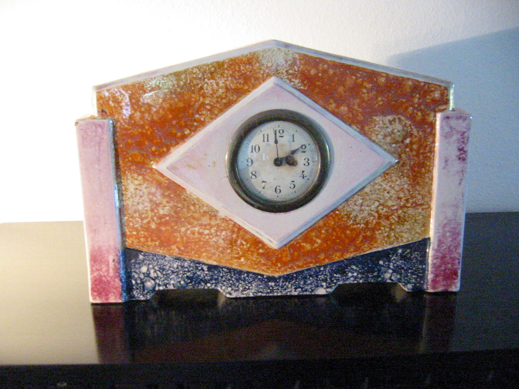France Art Deco Ceramic Mantle Clock Rustic Orange Glaze - Designer Unique Finds   - 3