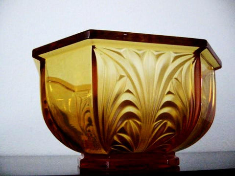 Hexagonal Amber Crystal Bowl Floral Relief From Germany - Designer Unique Finds   - 1