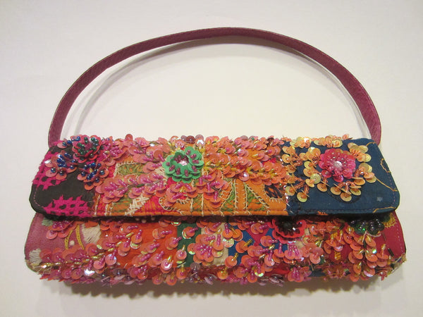 Beaded Clutch Laura Lees Designs Sequined Detached Leather Strap