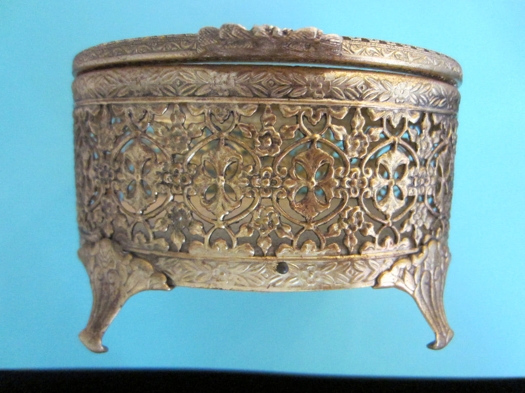 Filigree Brass Footed Oblong Dresser Box Hinged Textile Interior - Designer Unique Finds