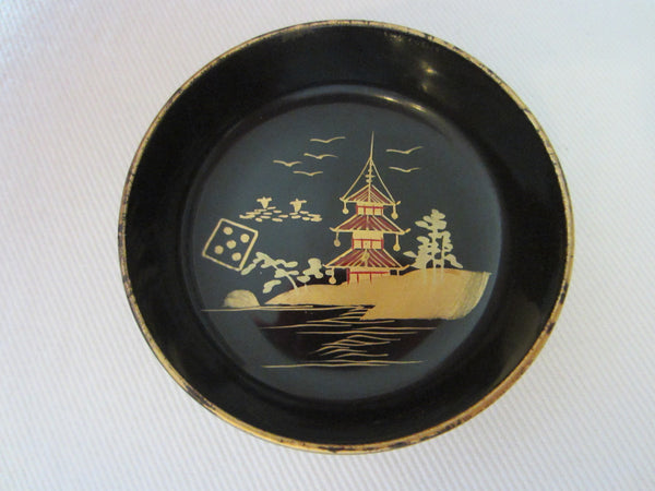 Black Japanese Lacquered Box Miniature Gilt Decorated Painted Nesting Bowls - Designer Unique Finds