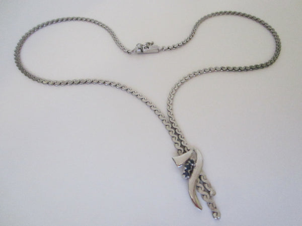 Wenz Silver Sapphire Necklace Marked Numbered - Designer Unique Finds
