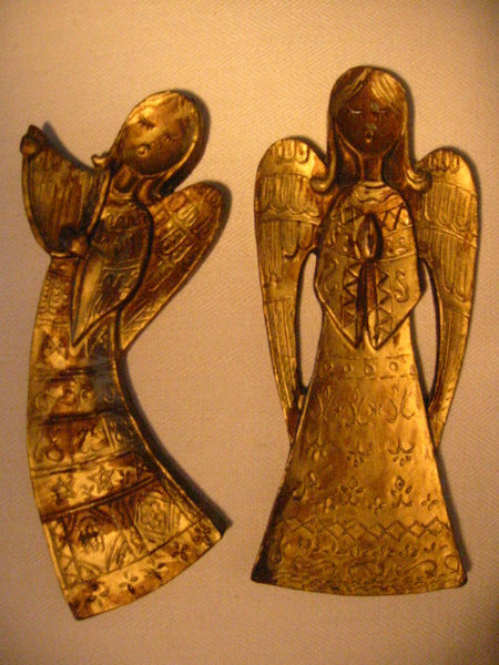 Italian Angels Antiqued Gold Wall Decor Gilt Wood Hand Carved - Designer Unique Finds