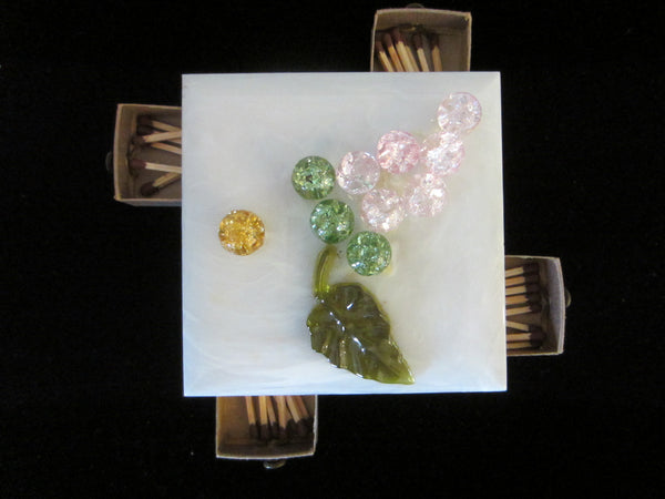 Homeart Lucite Match Box Decorated Glass Grape - Designer Unique Finds   - 3