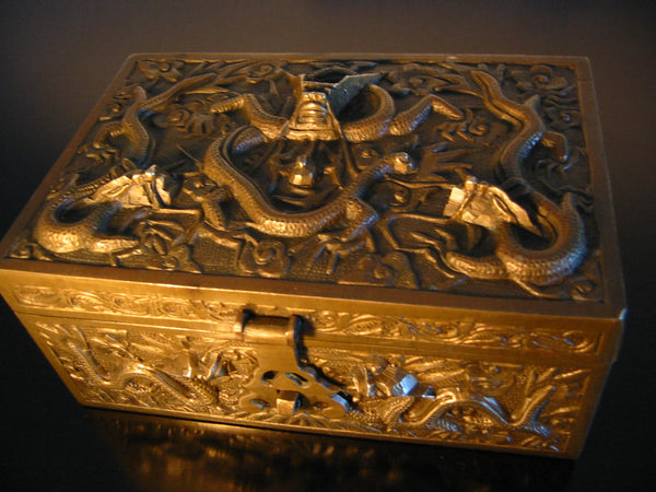 Chinese Brass Humidor Box Early 20th Century Period Flying Dragons Sandalwood Lined - Designer Unique Finds   - 3