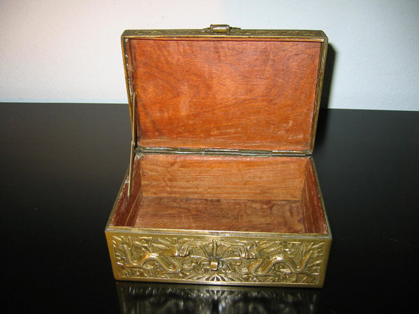 Chinese Brass Humidor Box Early 20th Century Period Flying Dragons Sandalwood Lined - Designer Unique Finds   - 2