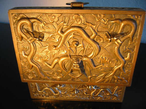 Chinese Brass Humidor Box Early 20th Century Period Flying Dragons Sandalwood Lined - Designer Unique Finds   - 5