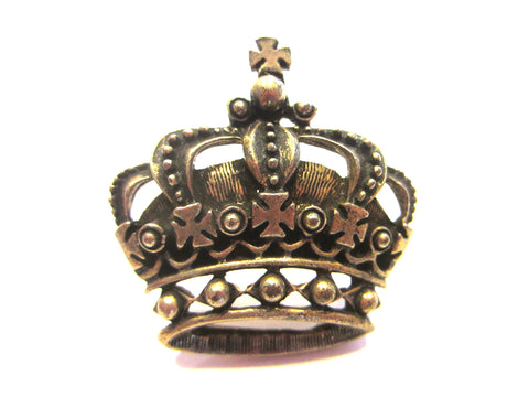 Victorian Style Brass Crowned Brooch Crested Coat of Arm