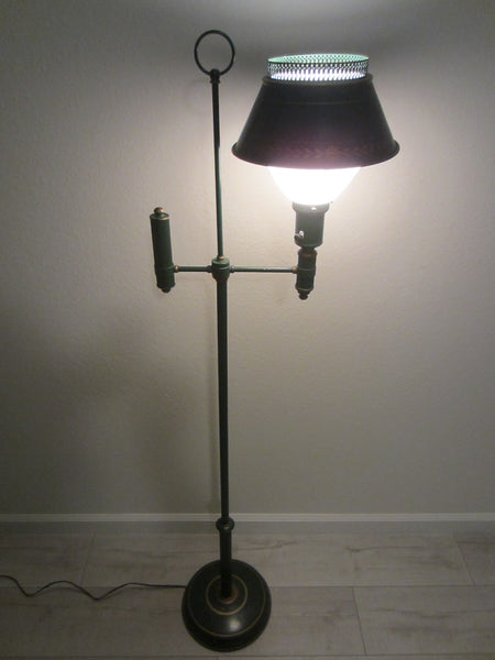 Green Tole Floor Lamp French Style Metal Gilt Embossed - Designer Unique Finds   - 2