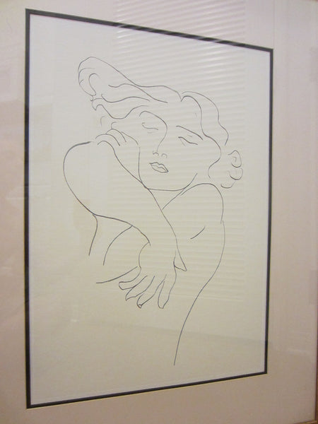 Attributed Matisse Abstract Portrait Print Line Drawing - Designer Unique Finds   - 3