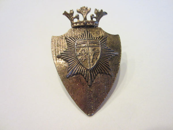 Crown Brass Brooch Crested English Coat of Arm Fleour D Elise - Designer Unique Finds