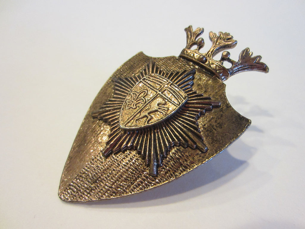Brooch Crested Crown English Coat of Arm Fleour D Elise - Designer Unique Finds