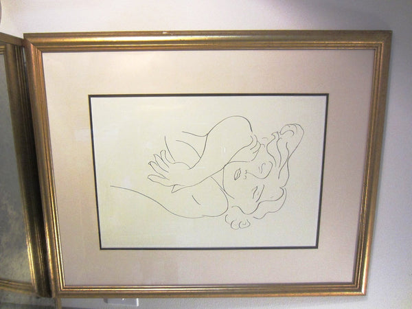 Attributed Matisse Abstract Portrait Print Line Drawing - Designer Unique Finds   - 1