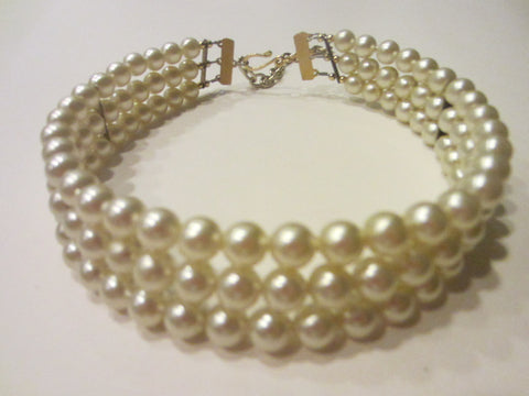 Bridal Pearl Wired Strands Choker Golden Closure Link Chain