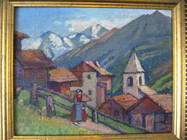 Freeman G Muir Switzerland Signed Canvas Board Artist Proof Provenance - Designer Unique Finds