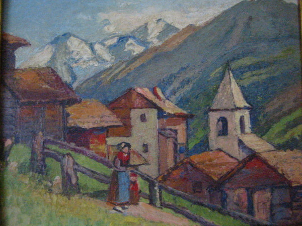 Switzerland By Freeman G Muir Circa 1929 Oil On Canvas Board - Designer Unique Finds   - 3