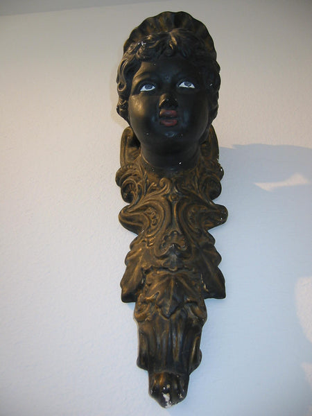 Italian Bust Wall Sconce Charcoal Gold Decorated Black Portrait Candle Holder - Designer Unique Finds   - 6