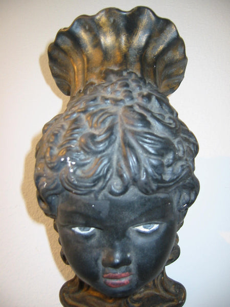 Italian Bust Wall Sconce Charcoal Gold Decorated Black Portrait Candle Holder - Designer Unique Finds   - 5