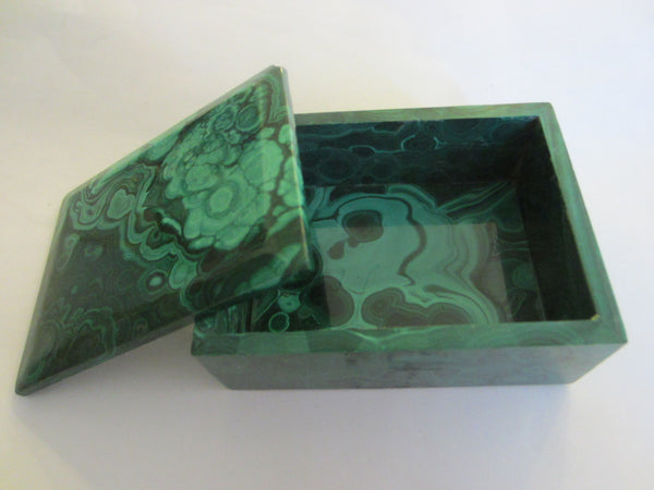 Malachite Green Stone Hand Cut Jewelry Box - Designer Unique Finds   - 3