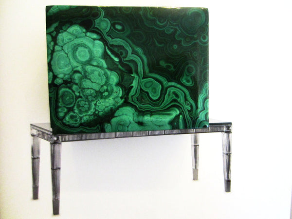 Malachite Green Stone Hand Cut Jewelry Box - Designer Unique Finds   - 1