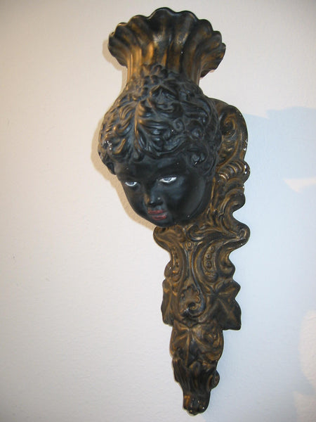 Italian Bust Wall Sconce Charcoal Gold Decorated Black Portrait Candle Holder - Designer Unique Finds   - 9