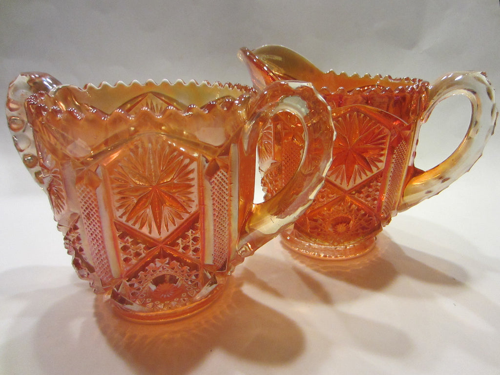 Marigold Imperial Glass Creamer Sugar Pressed Carnival - Designer Unique Finds   - 1