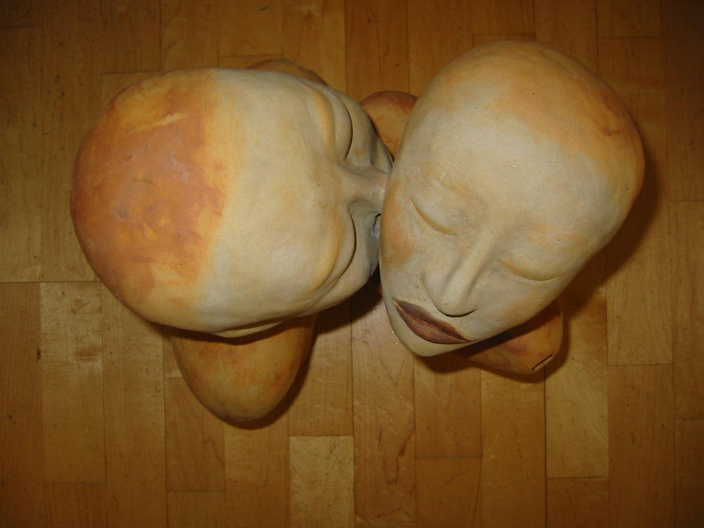 Asian Kiss Terracotta Romantic Sculpture Carved Signature Stamps - Designer Unique Finds   - 1