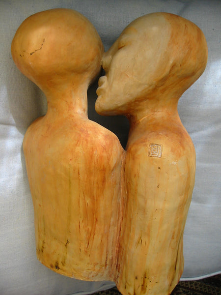 Asian Kiss Terracotta Romantic Sculpture Carved Signature Stamps - Designer Unique Finds   - 5