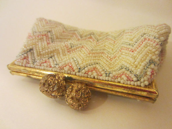 Hand Beaded French Coin Purse Filigree Ball Closure