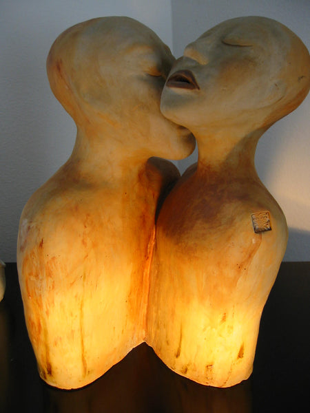 A Kiss Asian Terracotta Romantic Signature Sculpture - Designer Unique Finds