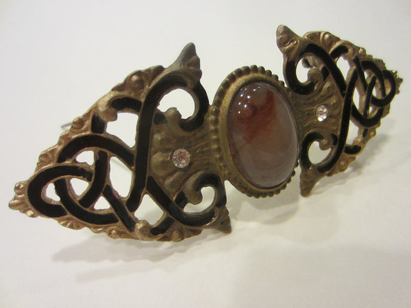 Pisces Bar Brooch Carnelian Centered Cabochon Black Enamel