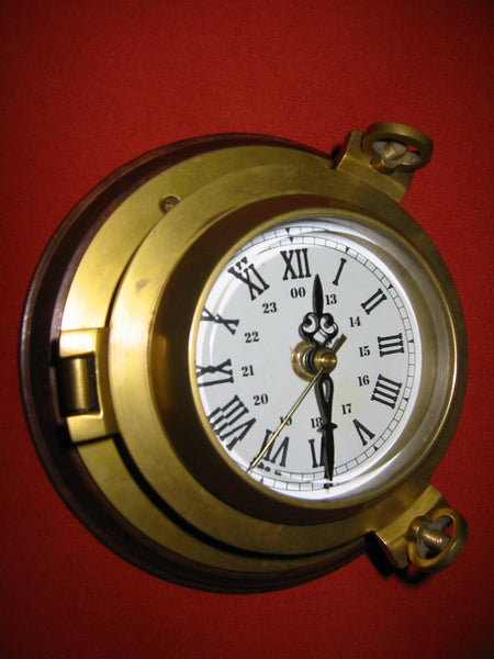 Porthole Nautical Brass Quartz Maritime Ship Clock Mahogany Mount Beveled Glass - Designer Unique Finds   - 2