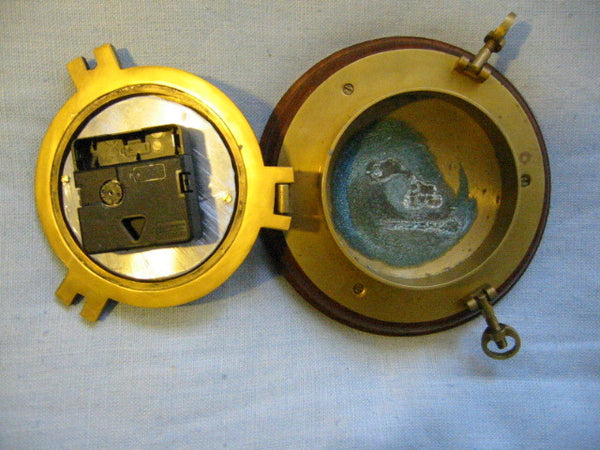 Porthole Nautical Brass Quartz Maritime Ship Clock Mahogany Mount Beveled Glass - Designer Unique Finds   - 7