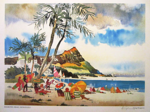 Don Kingman Diamond Head Honolulu 1970's Signed Lithograph - Designer Unique Finds   - 1