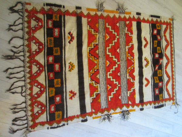 Tribal Art Rug Geometric Chevron Pattern Bold Colors - Designer Unique Finds