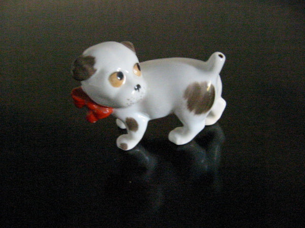 Red Bow Mini German Dog Porcelain Figurine W Hallmarks - Designer Unique Finds