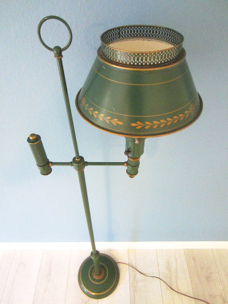 Green Tole Floor Lamp French Style Metal Gilt Embossed - Designer Unique Finds   - 3